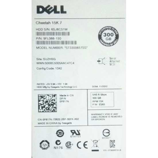 "Dell 300GB 15K 6Gbps SAS 3.5"" hard disk 0F617N"