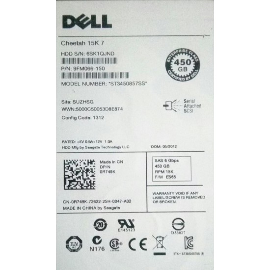 "DELL 450GB 15K SAS  6 Gbps 3.5"" 0R749K"
