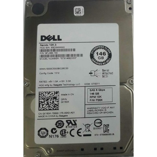 "Dell 146GB 6Gbps 10K 2.5"" SAS Hard Drive 0X160K"