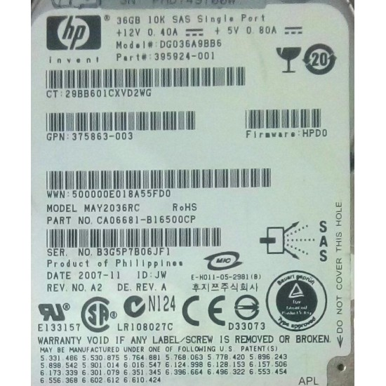 "HP 36GB 10K SAS 3Gbps 2.5"" Hard Disk 395924-001"